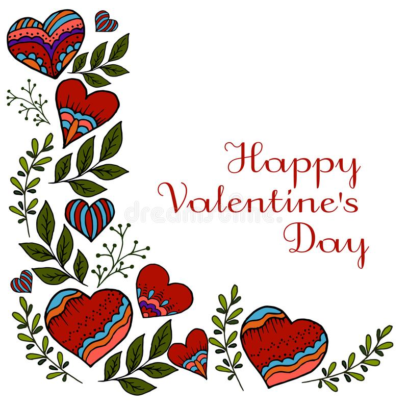 Happy Valentine`s Day. Flowering branches vector illustration