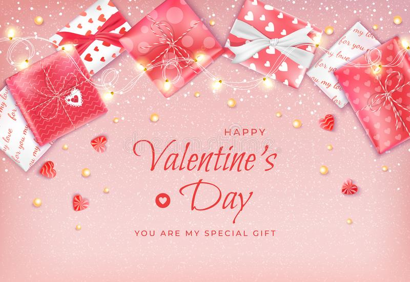 Happy Valentine`s Day Flyer, Horizontal Web Banner Background with garland, candies, confetti, beads, gift boxes stock illustration