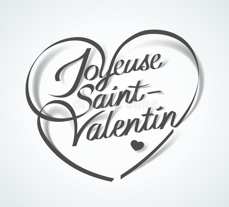 Happy Valentine`s Day in French : Joyeuse St-Valentin. Vector illustration vector illustration