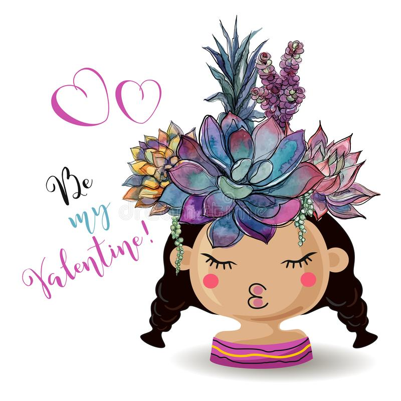 Happy Valentine`s day. Girl with flowers succulents. Watercolor. Vector. stock illustration
