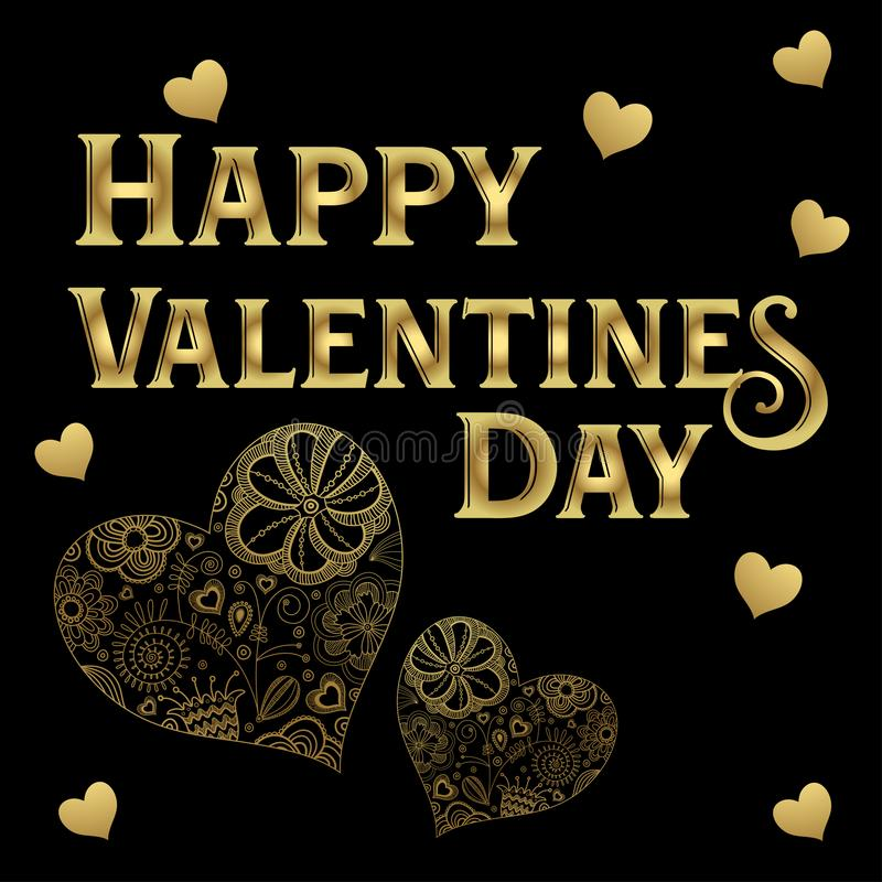 Happy Valentine`s Day Gold lettering gold artistic hearts isolated in black background stock illustration