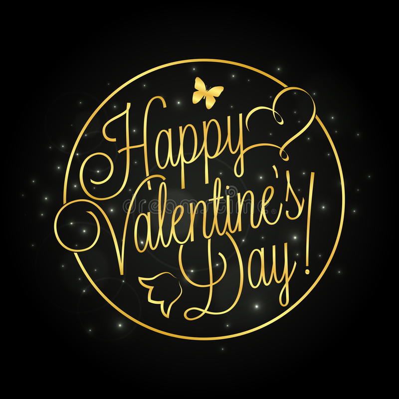 Happy Valentine`s Day golden lettering. Over starry night background for your greeting card design stock illustration