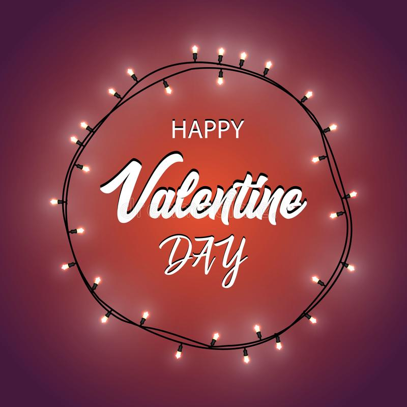 Happy Valentine`s Day.Gradient Background with Bright Lights Garland. Vector Illustration. royalty free stock photo