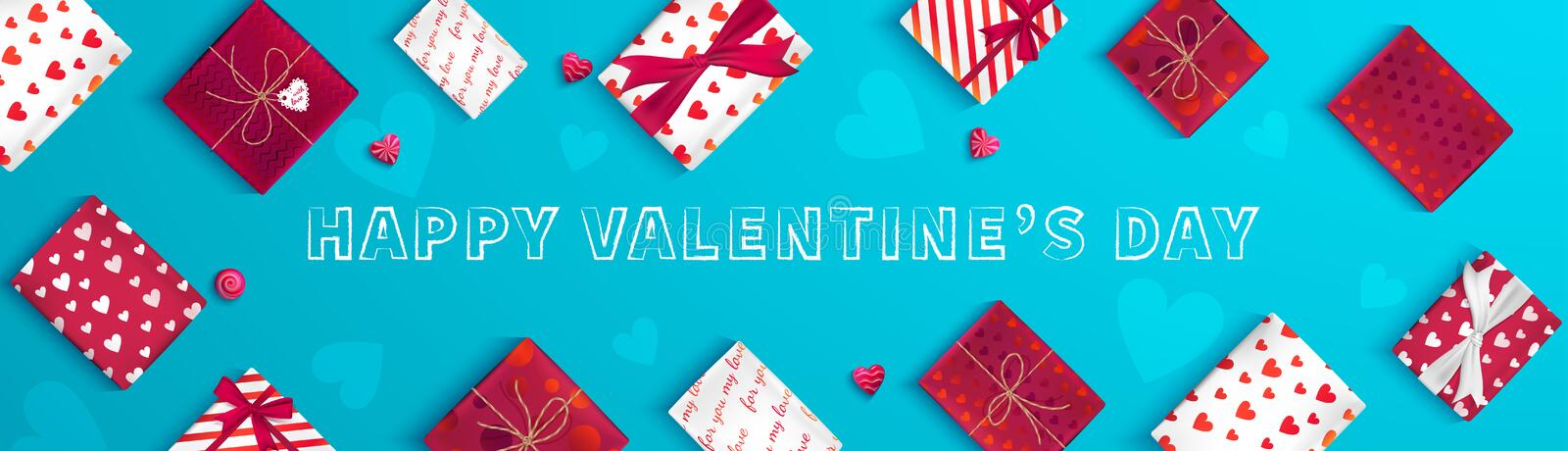 Happy Valentine`s Day greeting banner. Top view on gift boxes in different packaging, candy in the form of heart. vector illustration