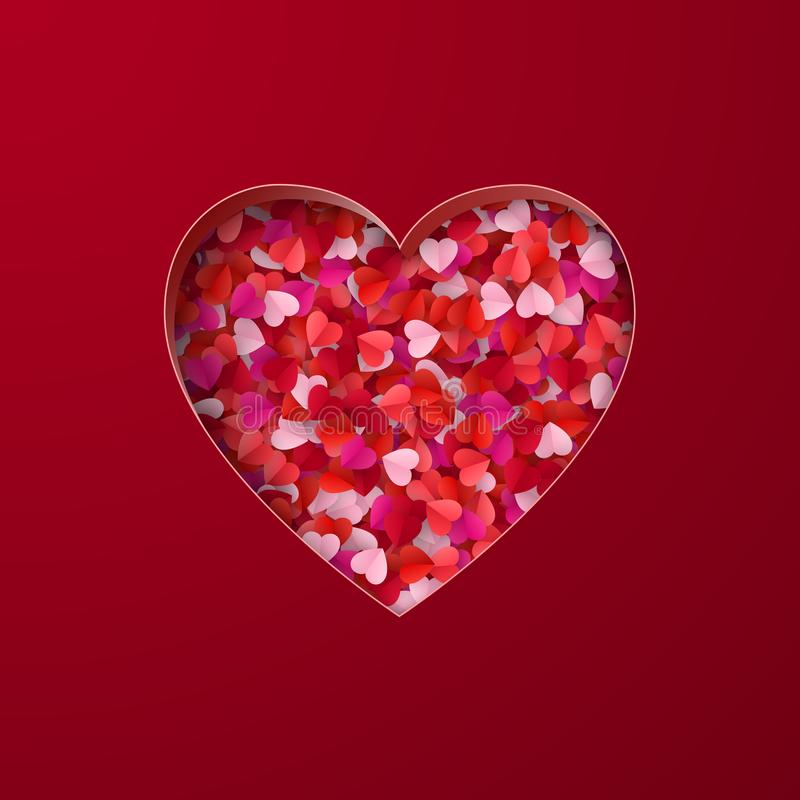 Happy Valentine`s Day greeting card background. Heart shape consist of red paper hearts. Vector illustration.  royalty free illustration