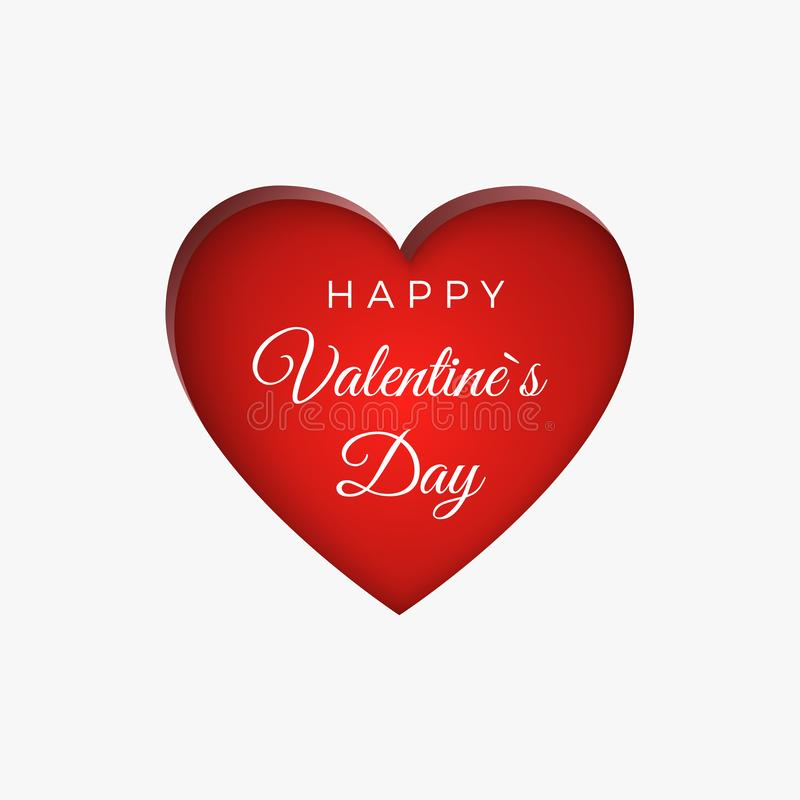 Happy Valentine`s Day greeting card background. Heart shape and text. Vector illustration.  royalty free illustration