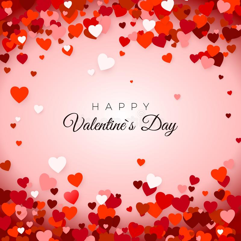 Happy Valentine`s Day. Valentine`s Day greeting card. Valentine`s day background with hearts. Holiday decoration element. Happy Valentine`s Day. Valentine`s Day royalty free illustration