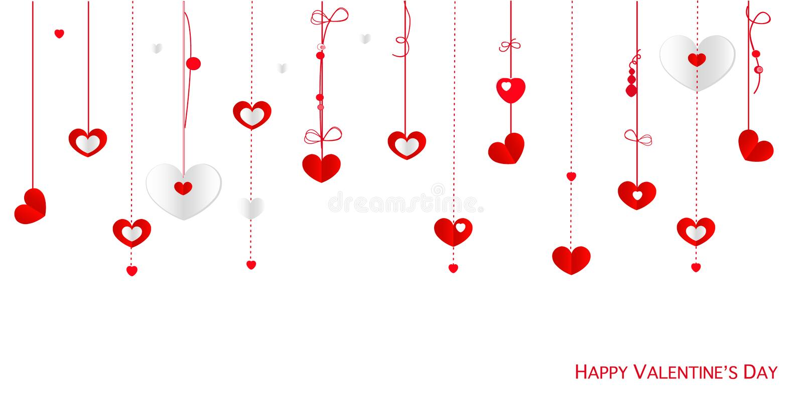Happy Valentine's Day greeting card with border design hanging hearts vector background royalty free illustration