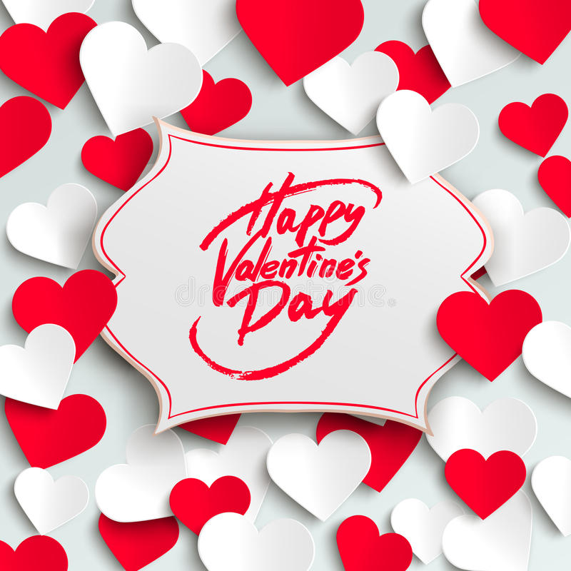 Happy Valentine's Day greeting card, brush pen lettering and paper hearts. Vector illustration royalty free illustration