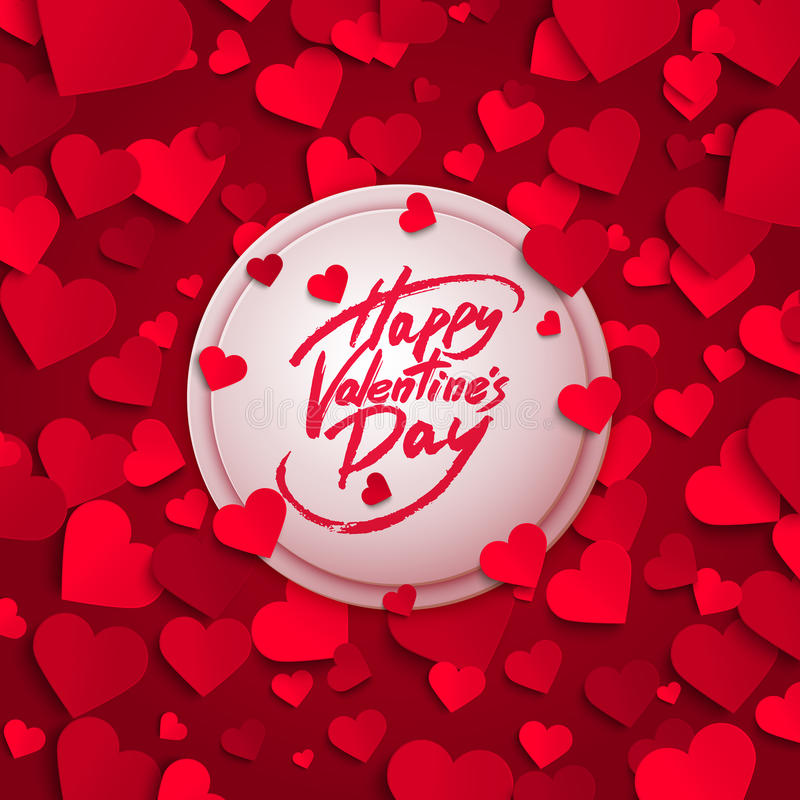 Happy Valentine's Day greeting card, brush pen lettering and red paper hearts. Vector illustration vector illustration