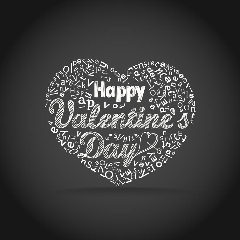 Happy valentine`s day greeting card. Design elements stock illustration