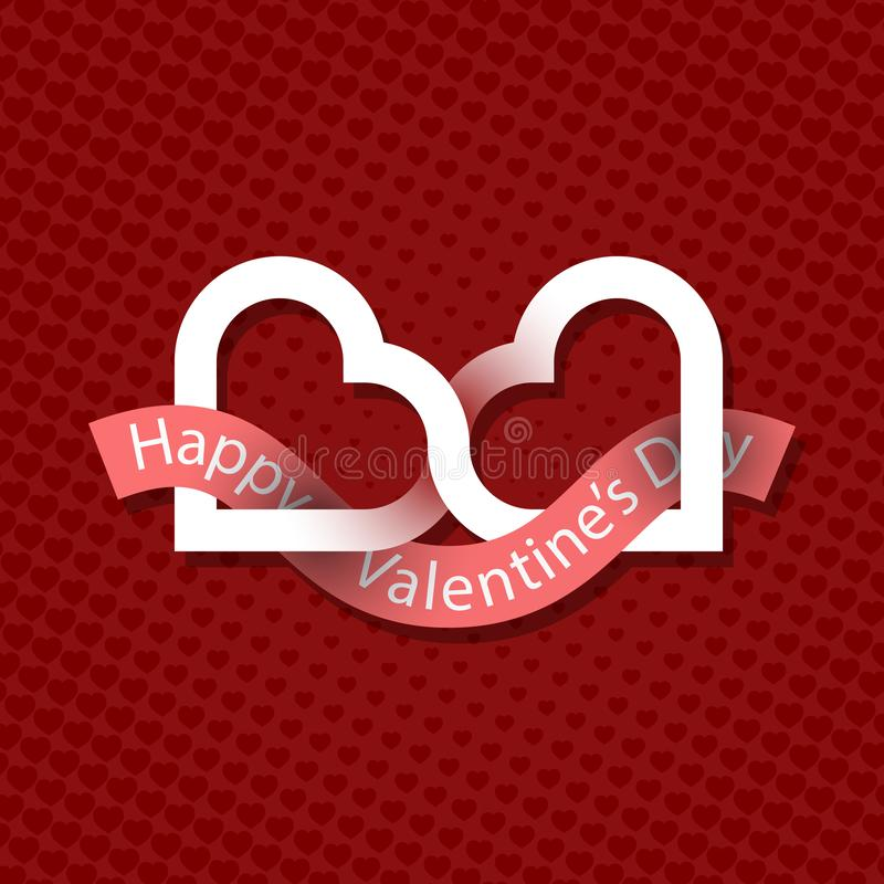 Happy Valentine`s Day greeting card design. Two connected hearts logo with ribbon on red background with hearts vector illustration