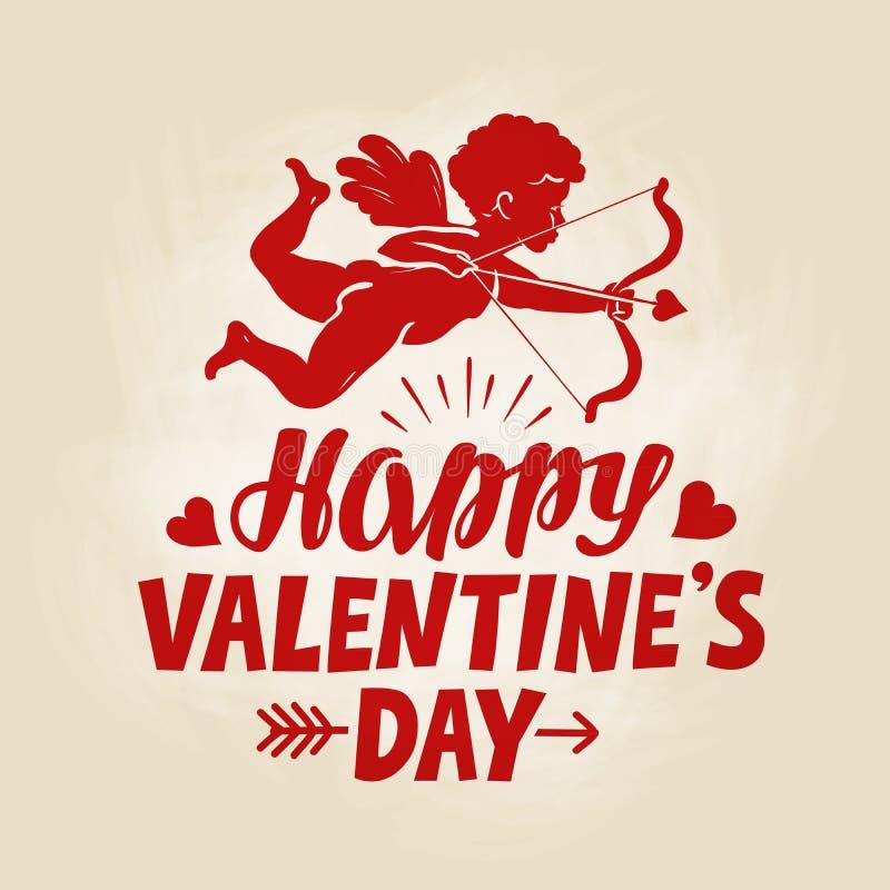 Happy Valentines Day Greeting Card Flying Angel Cherub Or Cupid