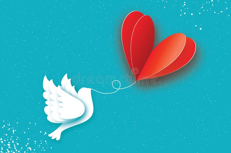 Happy Valentine`s day Greeting card. Flying Love Balloon. Bird in paper cut style. Origami Romantic Dove. Red heart. White pigeon. 14 February. Bly sky vector illustration