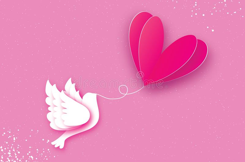 Happy Valentine`s day Greeting card. Flying Love Balloon. stock illustration