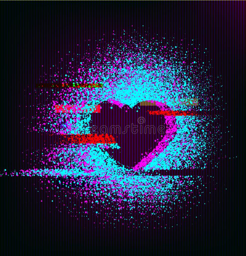 Happy Valentine`s day greeting card with a glitch heart.  royalty free illustration