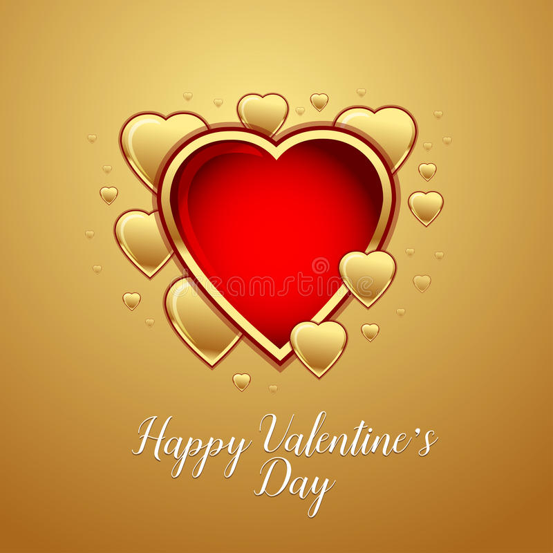 Happy Valentine`s Day Greeting Card on gold background, vector illustration. royalty free illustration