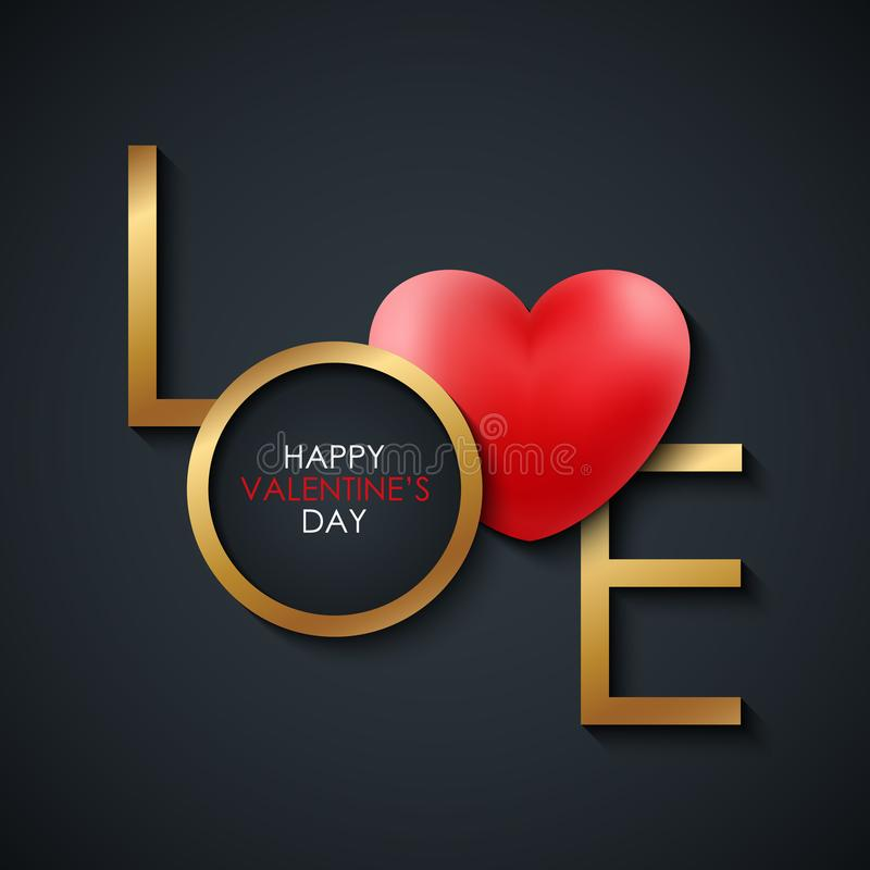 Happy Valentine`s Day greeting card with gold colored word LOVE and red realistic heart on black background. 14 february holiday greetings. Vector Illustration stock illustration