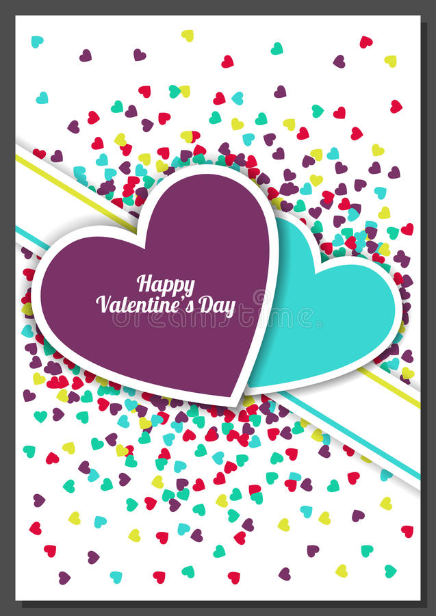 Happy Valentine`s Day greeting card with hearts background. Vector illustration. Wedding invitation.  royalty free illustration