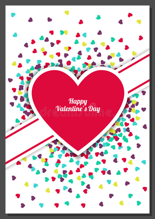 Happy Valentine`s Day greeting card with hearts background. Vector illustration. Wedding invitation.  stock illustration