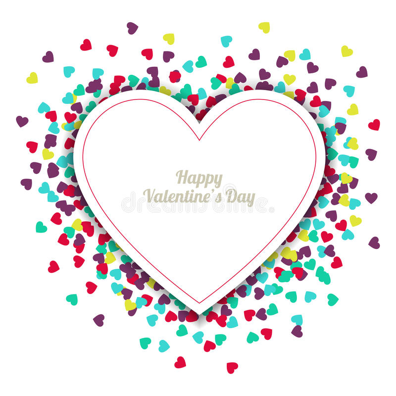 Happy Valentine`s Day greeting card with hearts background. Vector illustration. Wedding invitation.  vector illustration