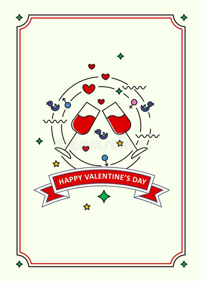Happy Valentine s day. Greeting card. Line art style.  stock illustration