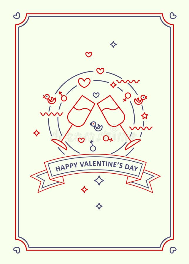 Happy Valentine s day. Greeting card. Line art style. Happy Valentine s day. Cheers stemware vector illustration