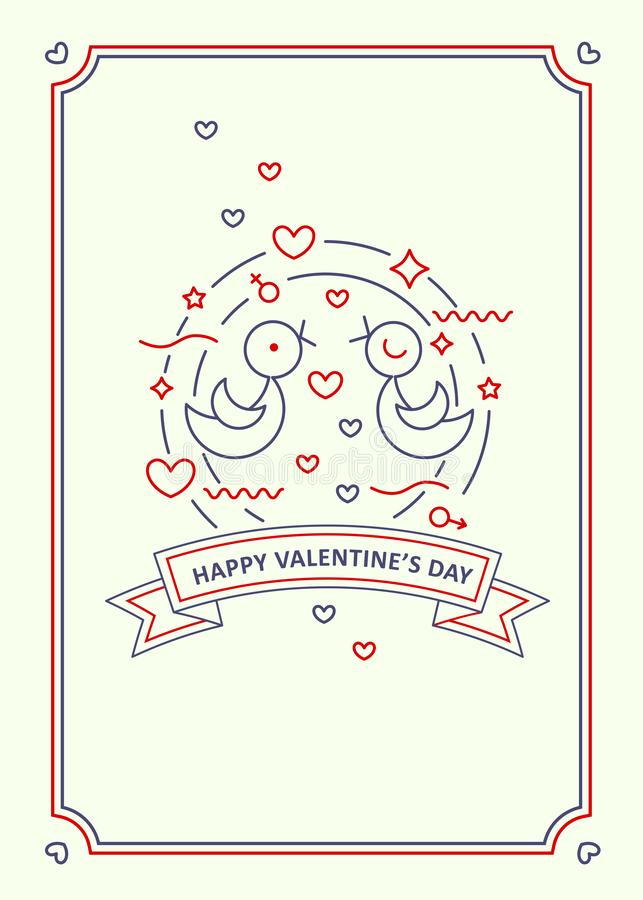 Happy Valentine s day. Greeting card. Line art style. Happy Valentine s day. Love doves couple vector illustration