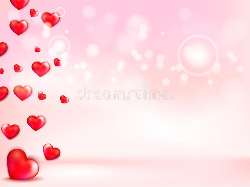 Happy Valentine`s day greeting card with a red heart.  royalty free illustration