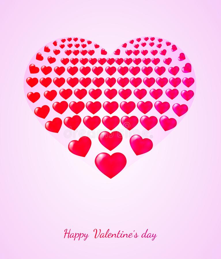 Happy Valentine`s day greeting card with a red heart.  vector illustration