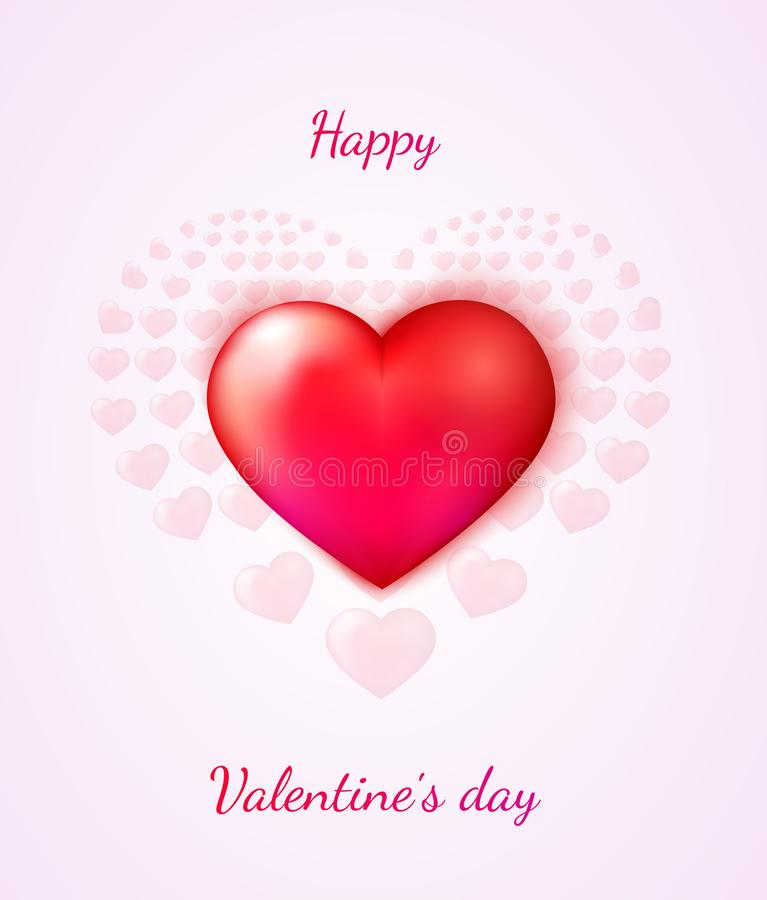 Happy Valentine`s day greeting card with a red heart.  stock illustration