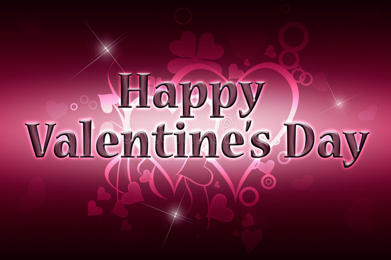 Happy Valentine's Day. Greeting card Happy Valentine's Day. Red and pink background royalty free illustration