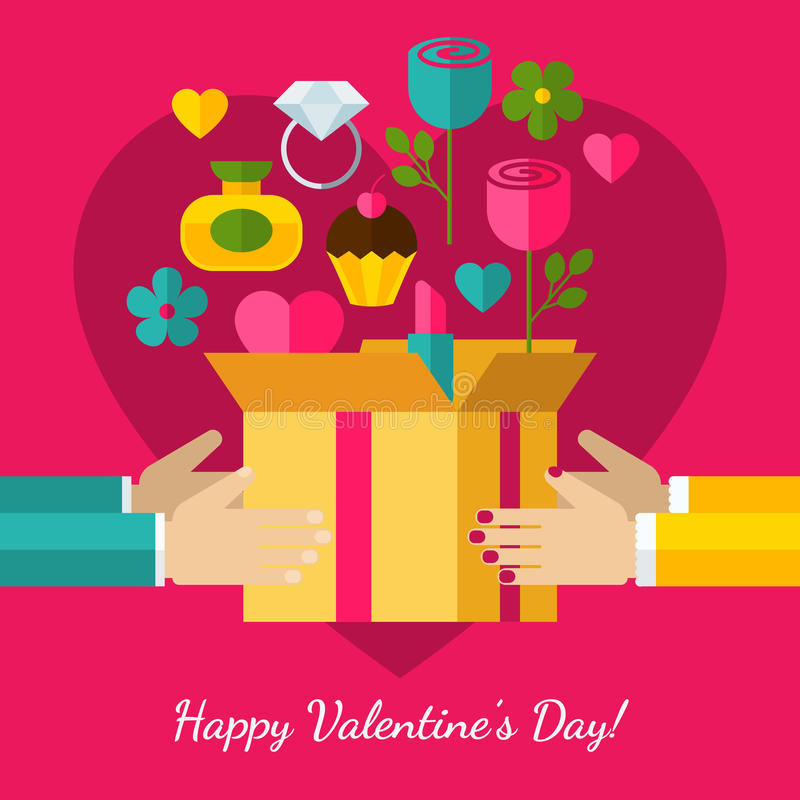 Happy Valentine`s Day greeting card. Set of flat design concept. Icons for web and mobile phone services and apps. Hands with gift illustration background royalty free illustration