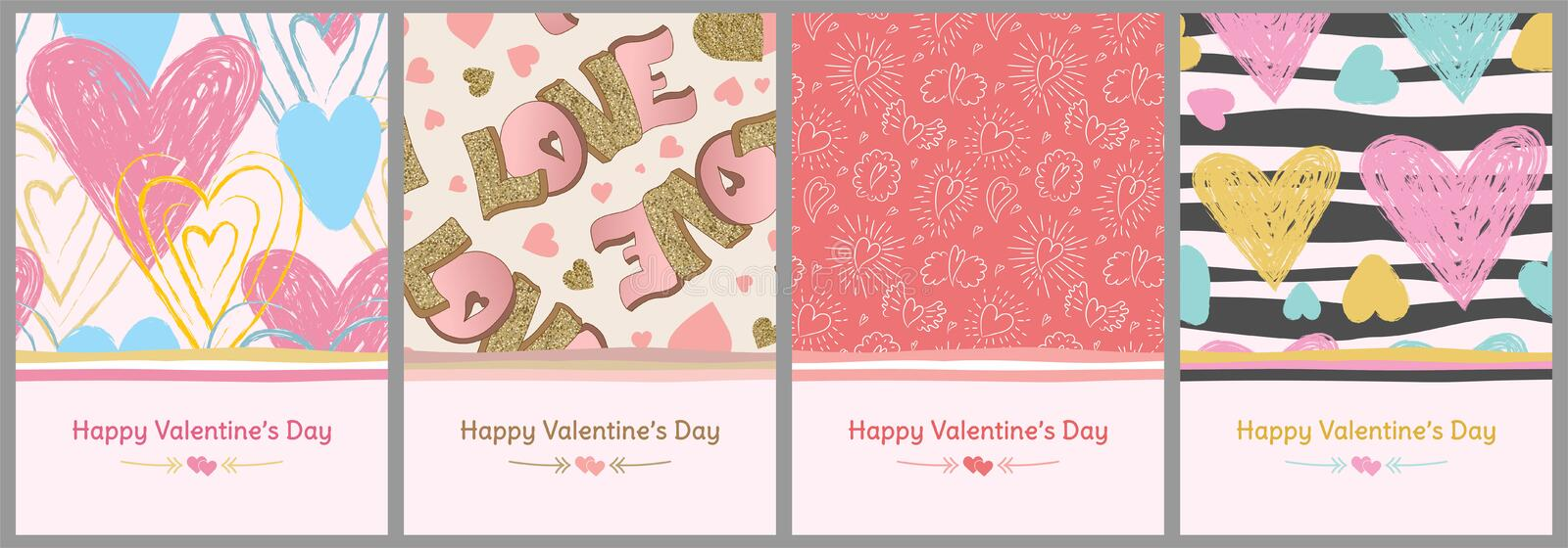 Happy Valentine`s Day. Greeting card set. Love. Gold, blue and pink colors. Hand drawn hearts. Design for February 14.  stock illustration