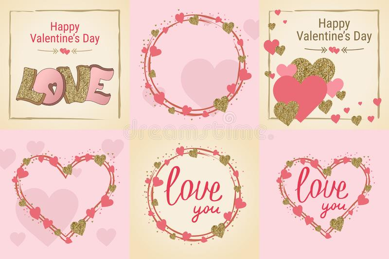 Happy Valentine`s Day greeting card set. Love. Gold and pink colors. Poster. Hand drawn heart. Design for wedding. February 14. Banner vector illustration