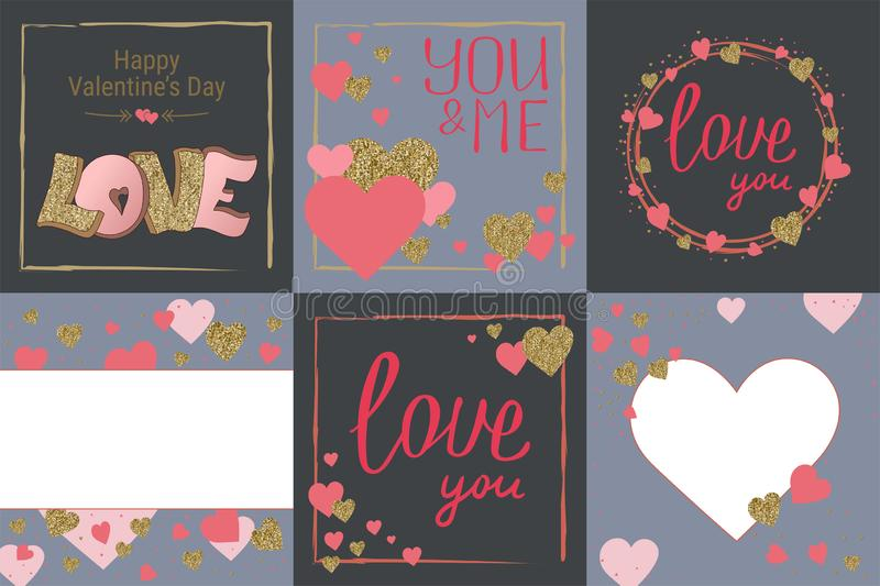 Happy Valentine`s Day greeting card set. Love. Gold and pink colors. Poster. Hand drawn heart. Design for wedding. February 14. Banner stock illustration