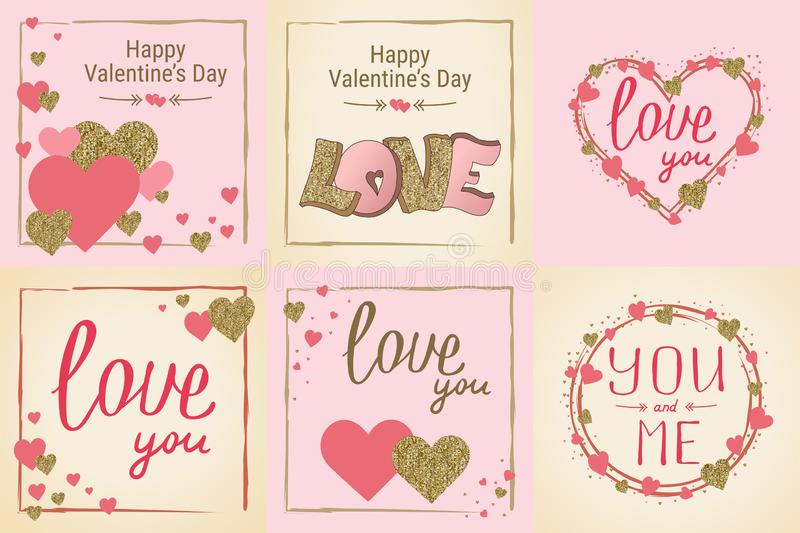 Happy Valentine`s Day greeting card set. Love. Gold and pink colors. Poster. Hand drawn heart. Design for wedding. February 14. Banner royalty free illustration