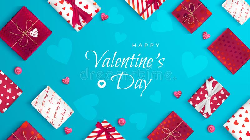 Happy Valentine`s Day greeting card. Top view on gift boxes in different packaging, lollipop in the form of heart. Festive romantic love background, web banner royalty free illustration