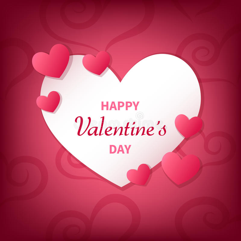 Happy Valentine`s Day greeting card with white and pink hearts. vector illustration
