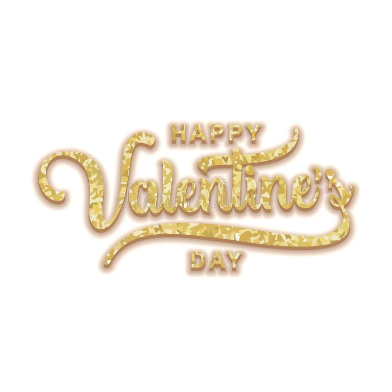 Happy Valentine's day greeting design hand drawn lettering retro luxury style with glitter gold touch. Elegant golden colors. Vector illustration stock illustration
