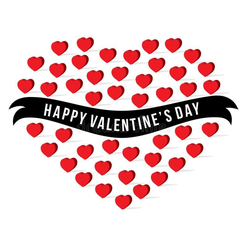 Happy valentine`s day greeting design. Happy valentine`s day greeting card, red heart pattern design big heart shape stock illustration