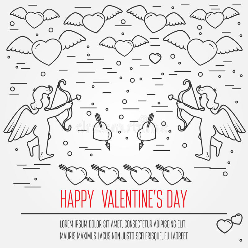 Happy Valentine's Day greetings card, labels, badges, symbols, i. Llustrations, tattoo, t-shirts, banners, flyers and other types of business design with place royalty free illustration