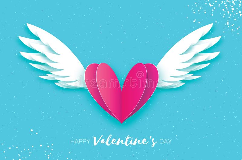 Download Happy Valentines Day Greetings Card Origami Angel Wings Stock Vector