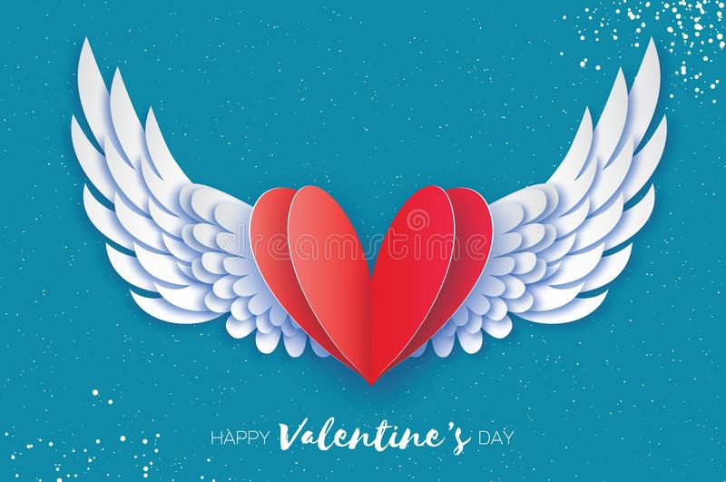Happy Valentine`s Day Greetings card. Origami angel wings and romantic red heart. Love. Winged heart in paper cut style. Blue sky background. Vector vector illustration