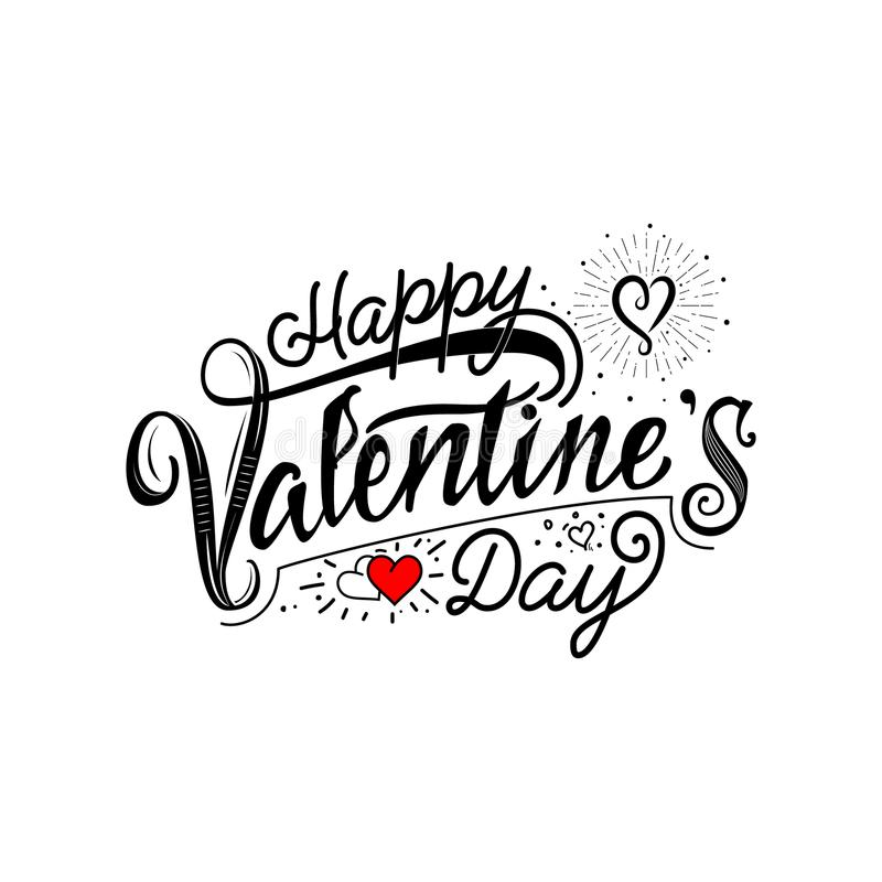 Happy Valentine`s day. Hand Drawing Vector Lettering design. Can. Be used for posters, postcards, prints on clothes vector illustration