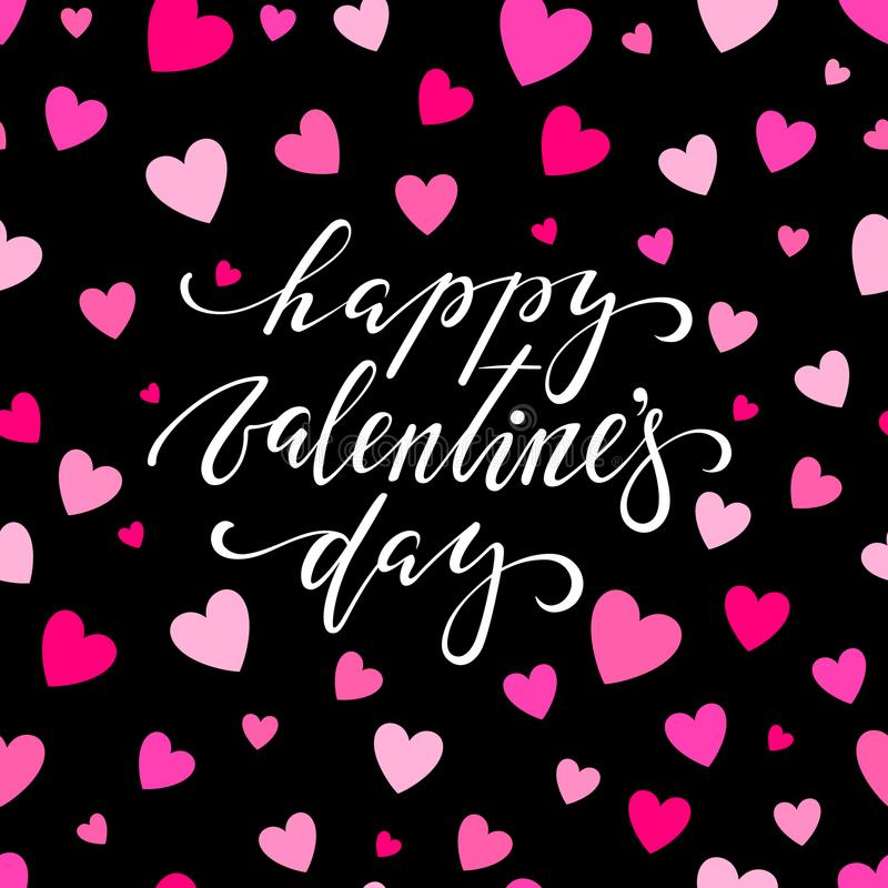Happy Valentine s day. Hand drawn brush pen lettering on pink glittering hearts background. design for holiday greeting card and i. Nvitation of the wedding vector illustration