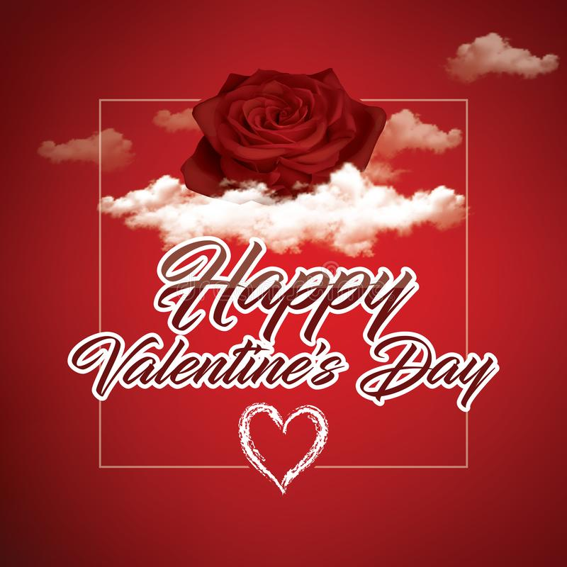 Happy Valentine`s day. Hand drawn brush pen lettering. Happy Valentine`s day. Hand drawn brush pen lettering with rose on red background stock illustration