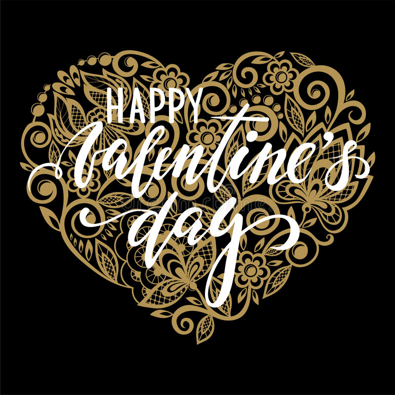 Happy Valentine`s day Hand drawn calligraphy and brush pen lettering with gold heart with a floral swirl. royalty free illustration