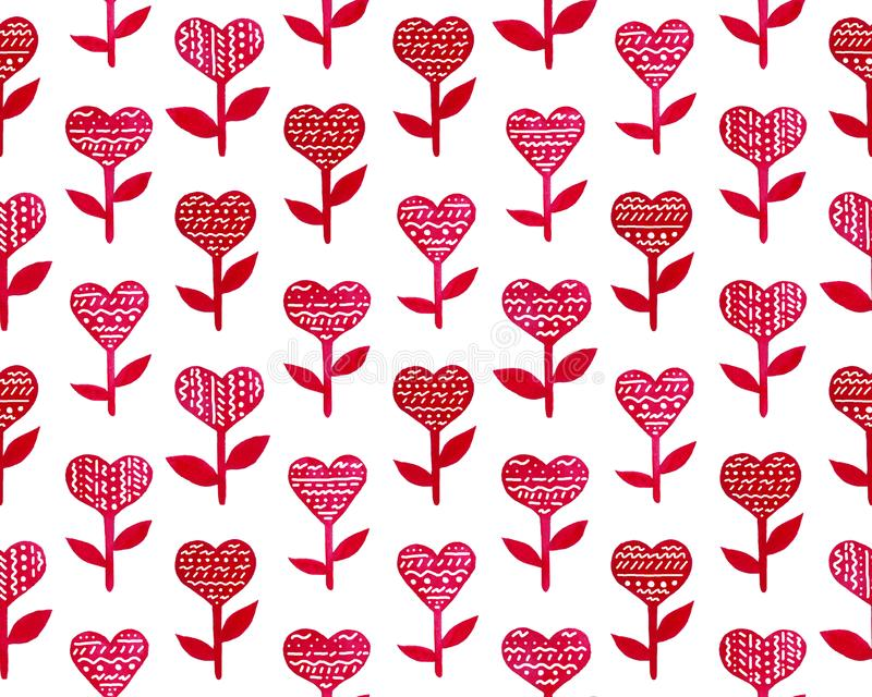 Happy Valentine`s Day hand drawn cute illustration with hearts and flowers stock illustration