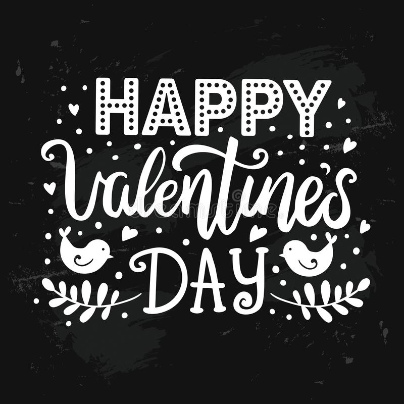 Happy Valentine`s day hand drawn lettering on distressed chalk board royalty free illustration